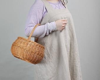 Natural linen apron in natural linen color (grey), Linen apron, Women linen apron, Practical apron, Practical linen, Linen clothes