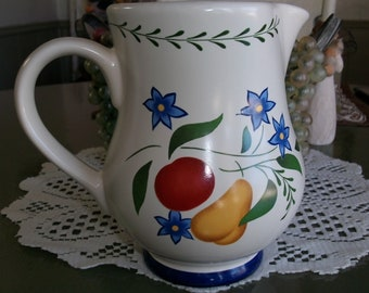 CLAIRE BURKE Ceramic Pottery Pitcher Fruits and Flowers