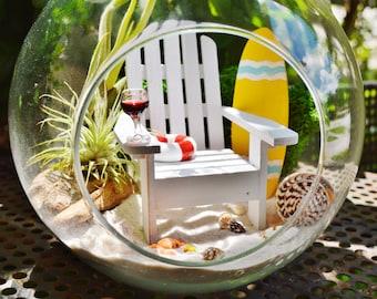 """Surfboard Beach Terrarium Kit ~ 8"""" Air Plant Terrarium Kit ~ Coastal Living Beach House Decor ~ Surfboard  Choice ~ Adirondack Chair ~ Gift"""