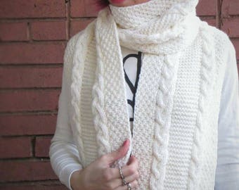 Long white scarf with fringe Warm scarf Cable knit scarf Oversize scarf Big scarf Ready to ship