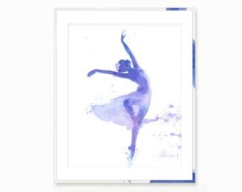 Ballet Art Print Ballerina Silhouette Print Ballet Watercolor Printable Room decor Digital Ballet Dancer Art  Ballet Printable