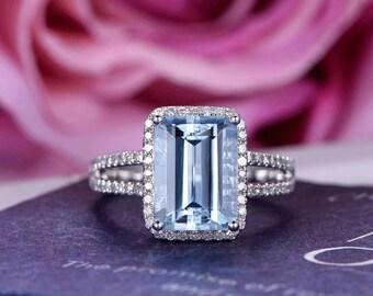 8x11mm Aquamarine Engagement ring/Diamond in 14k white gold band/Halo Stacking/Emerald cut birthstone gift/Split Shank/Pave set/Bezel set