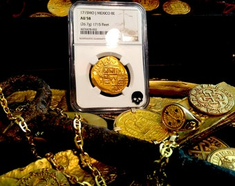 """Mexico 1715 """"Full Date of the Fleet Shipwreck"""" 8 Escudos NGC 58 Pirate Gold Treasure Coins Doubloon"""