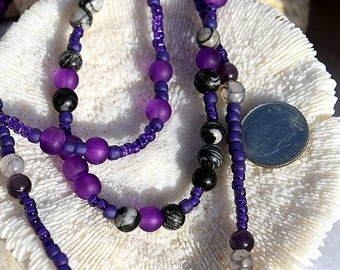 Multi Strand, Seed Bead, Dragon Vein Agate, Black Picasso Jasper, Amethyst, and Glass Bead Necklace, by Helen Jewelry,Multiple Strands