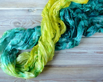 Lime green silk scarf for women- blue hand painted Mother day gift for mom