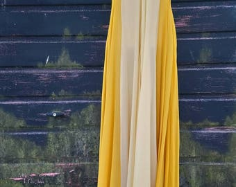 1960s Silk Chiffon Gown with Flower Detail & Full Skirt