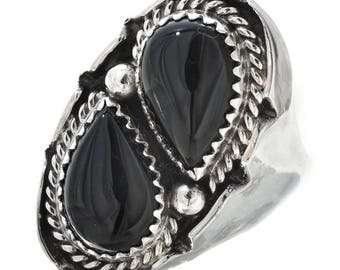 Black Onyx Silver Navajo Mens Ring Smooth Sterling Shank Any Size