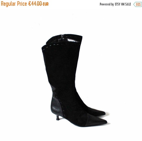Tall Low Black Style Kitten Leather UK Suede 6 EUR 8 Women's Western 39 5 US Boots Heel Boots Boots 0Rq0Y