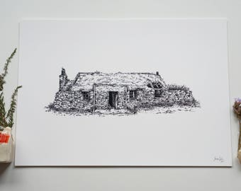 Scottish Cottage Fine Art Giclee Print A4