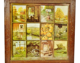 Delightful Vintage Home Interior HOMCO 12 Panel Rustic Window Pane Picture Prints By B  Mitchell