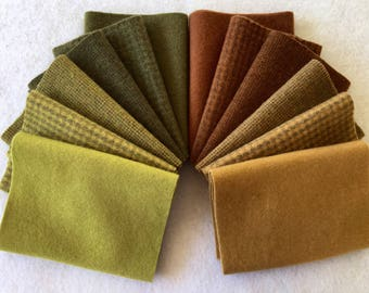 Hand Dyed Felted Wool, MAKING HAY, 12 pieces in Subtle Fall Colors, Perfect for Rug Hooking, Applique and Crafts