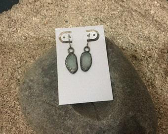 Light blue grayish Lake Michigan beach glass earrings.