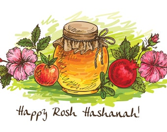 Rosh Hashanah - Jewish New Year - Happy Rosh Hashanah- Holiday Card- Happy New Jewish Year- Shana Tova - Jewish Holiday -  Hand Drawing