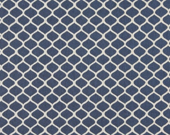 Blue And Off White Modern Geometric Designer Quality Upholstery Fabric By The Yard | Pattern # A0008E
