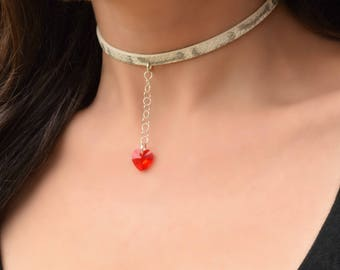 BDSM Collar, Day Collar, Submissive Collar, Slave Collar, Discreet Day Collar, Red Crystal Heart, BDSM Day Collar, BDSM Collar Necklace