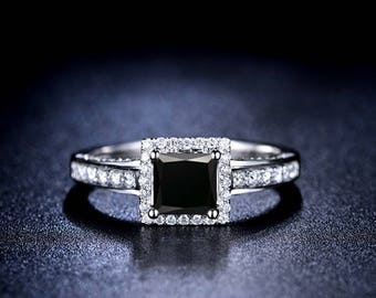 Princess Cut Black Diamond Engagement Ring 14k White Gold or Yellow Gold Halo Diamond Ring Art Deco Anniversary Ring