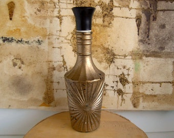 Vintage Mid Century Glass Bottle Liquor Container Decanter Gold Black Splatter Paint