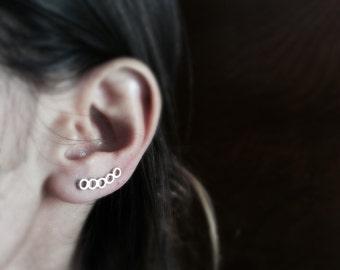 Geometric ear climber, Sterling silver ear pin, modern ear cuff, minalistic earrings, contemporary earring