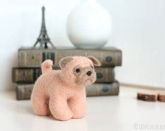 Felt Pug - Felt Dog, Miniature Pug Dog, Needle Felt Dog, Soft Sculpture, Felt Animals, Felt Puppy, Dog Lover Gift, Pug Gift, Pug Lover Gift