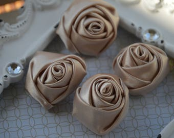 """1.5"""" Champagne Satin Fabric Roses, Satin Rolled Rosettes, Satin Flowers, Rolled Roses, Rolled Satin Roses, Satin Flowers, Satin Roses"""