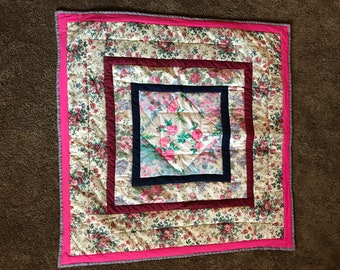 Vintage Look Handmade Lap Quilt Roses Square