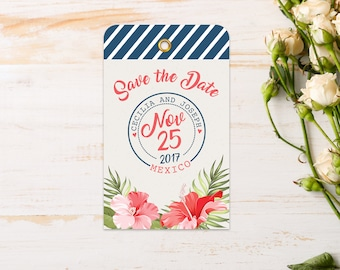 Magnet - Save the Date Luggage Tag {Tropical}