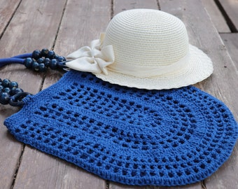 Royal Blue Crochet cotton bag,tote bag,handmade crochet handbag,beach bag,Summer bag with wooden handles,bohemian Gift idea,birthday gift