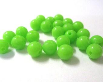 10 Apple green acrylic beads 6mm