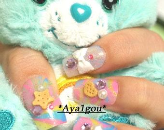 Fairy kei nail, 3D nails, pastel nail, Harajuku, sweet lolita, lolita accessory, bow, fake sweets, water marble, pretty nail, Japanese nail