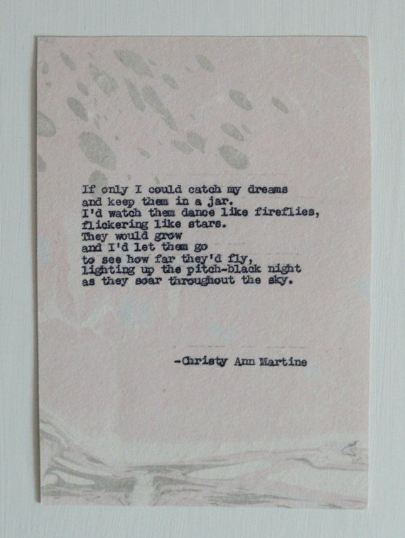 Ready to Ship - Premade - Fireflies Poem - If Only I Could Catch My Dreams - Poetry Hand Typed by Poet