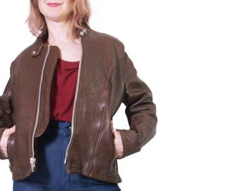 1980s Women's Schott Brown Leather Cafe Racer Jacket