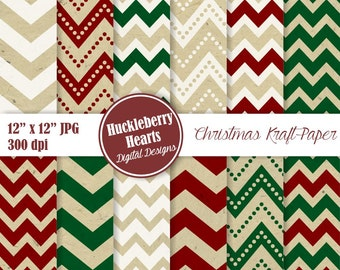 Christmas Kraft Paper, Kraft Chevron, Christmas Chevron, Christmas Patterns, Brown Paper, Printable, Commercial Use