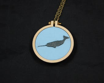 Embroidered Narwahl Mini Hoop Necklace