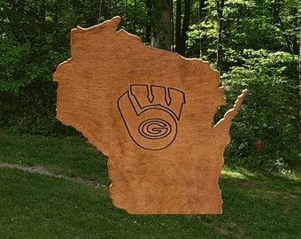 Wisconsin State Sign-Green Bay Packer State Pride Wall Decor-Custom Wood State Art Cutout-Wisconsin Badgers Gift-Guest Book