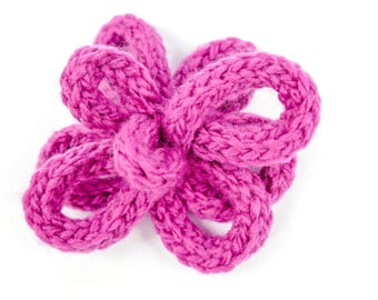 Pink Flower, Flower Hair Clip, French Knitted, Flower Hair Grip, Hair Grip, Pink Flower Clip, Hair Flower, Pink Hair Flower, Hair Grip, Clip