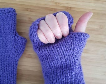 Chunky Purple Mitts