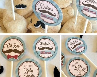 Mustache Bash Baby Shower Cupcake Toppers