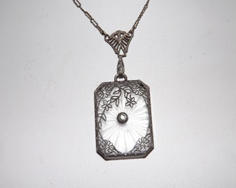 Art Deco Sterling Silver Filigree Camphor Glass Necklace