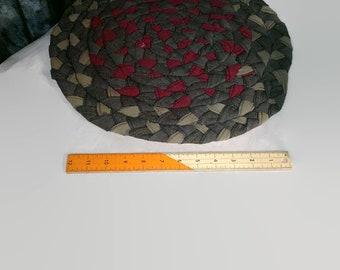 16 inch vintage braided rag rug