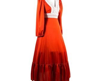 Vintage Burnt Sunset Crochet 1970s Dress