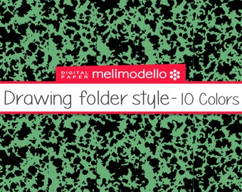 Drawing folder style, digital paper, instant download