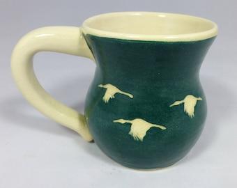 Green Coffee Mug with Cranes