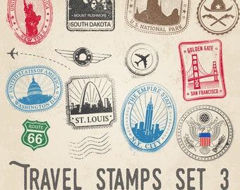 Travel Stamps Illustrations Set 3