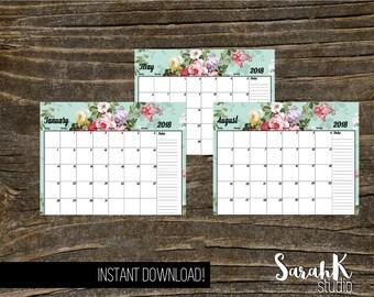 Vintage Floral 2018 Printable Planner Pages Instant Download DIY Calendar Flowers