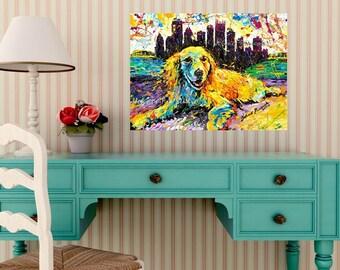 Golden Retriever, Dog art, Pittsburgh Ambassador River, Dog wall art, Johno Prascak, Johnos Art Studio