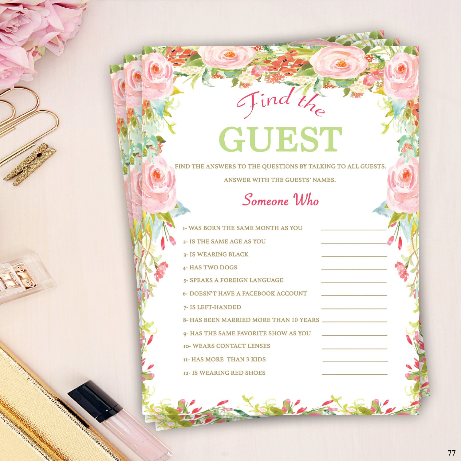 find the guest bridal shower game pink and green bridal