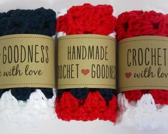 Crochet Dishtowel, washcloth handmade, red, white, and blue
