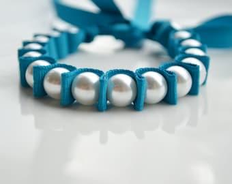 Stocking Stuffer Bracelet. Pearl Bracelet. Sapphire. Teen Girl Gift Under 20. Flower Girl. Teal. Christmas Gift for her Under 20. New Year