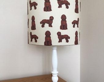 Labradoodle dog print fabric lamp