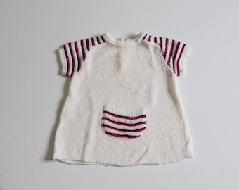vintage knitting and short sleeves 2 years girl dress